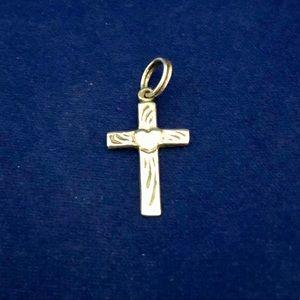 Jewelry - Sterling Silver Heart Crucifix Cross Charm 925